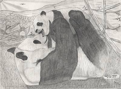 Panda Family Art Print by Matthew Moore