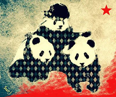 Panda Has A Posse  Art Print