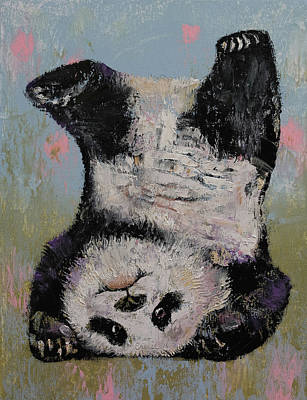 Impasto Oil Painting - Panda Headstand by Michael Creese
