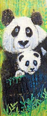 Mixed Media - Panda Mother And Cub by Ann Michelle Swadener