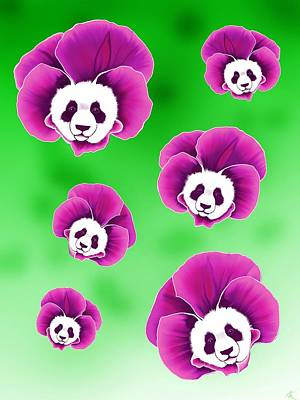 Panda Pansies Art Print