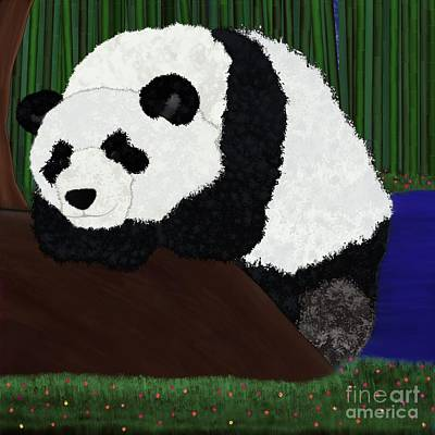 Digital Art - Panda Sitting By Bamboo by Alisha at AlishaDawnCreations