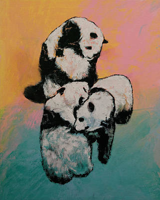 Panda Bears Painting - Panda Street Fight by Michael Creese