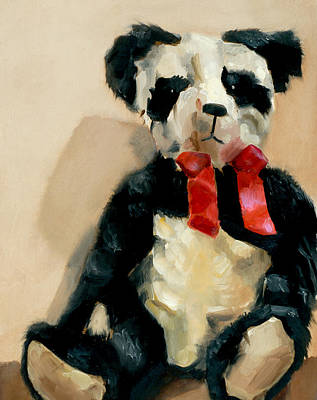 Painting - Panda Teddy Bear Art Print by Tommervik