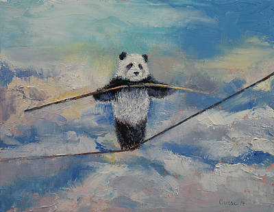 Humor. Painting - Panda Tightrope by Michael Creese