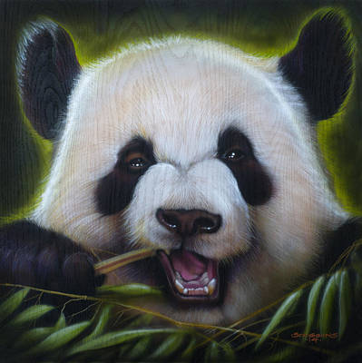 Panda Bear Painting - Panda by Tim  Scoggins
