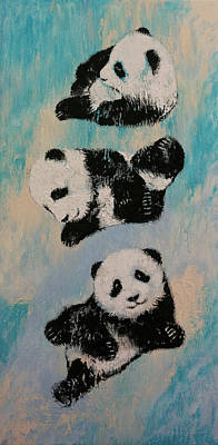 Birthday Party Painting - Panda Karate by Michael Creese