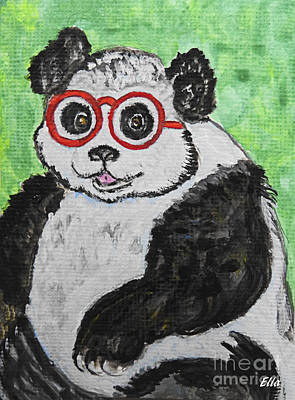 Painting - Panda Wearing Glasses  by Ella Kaye Dickey