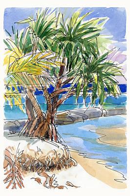 Painting - Pandanus Tree On Tapuaetai, Aitutaki by Judith Kunzle