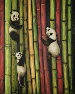 Art Print featuring the painting Pandas Climbing Bamboo by Leah Saulnier The Painting Maniac