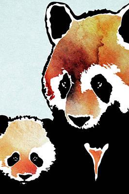 Pandas Mother And Child Art Print