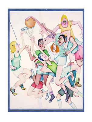 Basket Ball Game Painting - Pandiculation by Melinda Gay