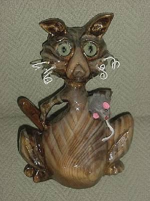Cat Wood Carving Sculpture - Pandora-cat-atude Series-sold by Lisa Ruggiero
