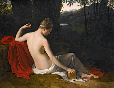 A Girl In A Wood Painting - Pandora Reclining In A Wooded Landscape by Attributed to Louis Hersent