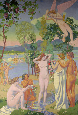 Post Impressionist Painting - Panel 1 - Eros Is Struck By Psyche's Beauty by Maurice Denis