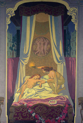Greek Painting - Panel 3 - Psyche Discovers That Her Mysterious Lover Is Eros by Maurice Denis