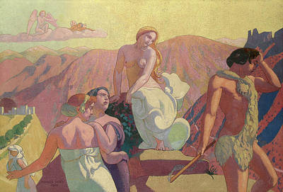 Psyche Painting - Panel 6 - Psyche's Kin Bid Her Farewell On A Mountain Top by Maurice Denis