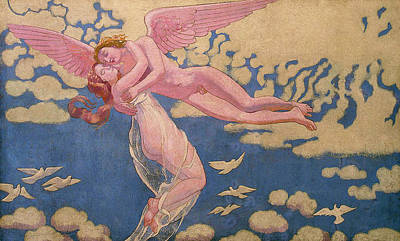 Cupid Painting - Panel 7 - Cupid Carrying Psyche Up To Heaven by Maurice Denis