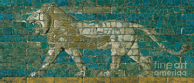 Near East Ceramic Art - Panel With Striding Lion by Babylonian School