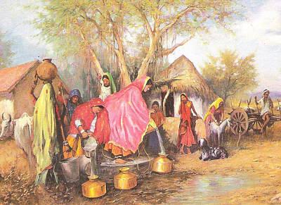 Rajasthani Painting - Panghat by Bharat Bhushan Sharma