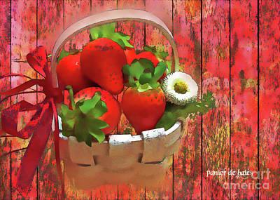 Strawberries Digital Art - Panier De Baies 2017 by Kathryn Strick
