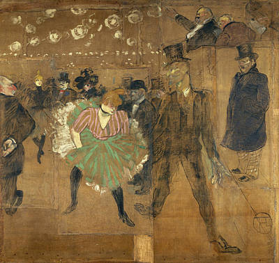 Club Scene Painting - Panneaux Pour La Baraque De La Goulue by Henri de Toulouse-Lautrec