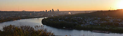 Photograph - Pano Cincinnati And River Dawn by Randall Branham