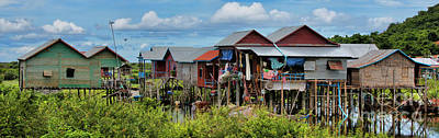 Pano Tonle Sap Homes  Art Print by Chuck Kuhn