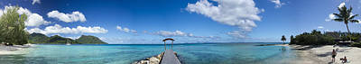 Cerulean Blue Photograph - Panorama Of Idyllic Beach In Huahine French Polynesia by David Smith