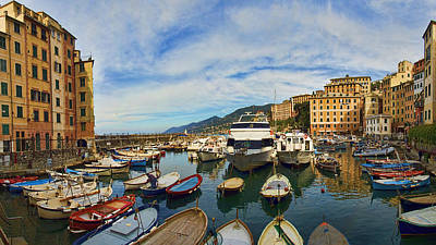 Photograph - Panorama No 1 Of Camogli Fishing Village On The Italian Rivier by David Smith
