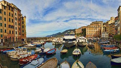Panorama No 1 Of Camogli Fishing Village On The Italian Rivier Art Print