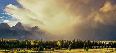 Photograph - Panorama Clearing Storm Over The Grand Tetons by Dave Welling