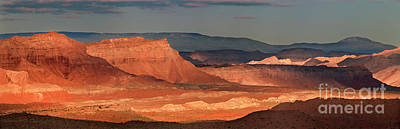 Photograph - Panorama Dawn Light On The San Rafael Swell Utah by Dave Welling