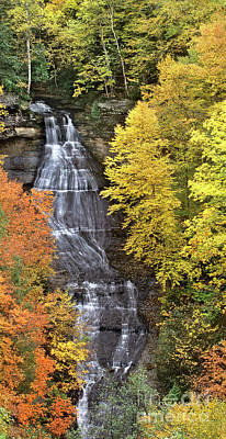 Photograph - Panorama Fall Color Chapel Falls Upper Penninsula Mi by Dave Welling