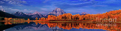 Photograph - Panorama Fall Color Oxbow Bend Snake River Grand Tetons by Dave Welling