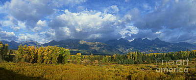 Photograph - Panorama Fall Morning Blacktail Ponds Grand Tetons National Park by Dave Welling
