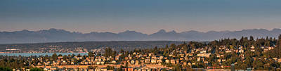 Photograph - Panorama - Lake Washington - Cascade Mountains by E Faithe Lester