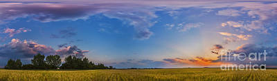 Prairie Sunset Wall Art - Photograph - Panorama Of A Colorful Sunset by Alan Dyer