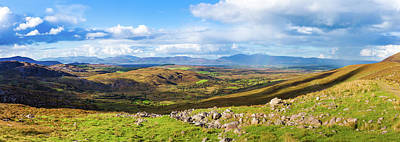 Art Print featuring the photograph Panorama Of A Colourful Undulating Irish Landscape In Kerry by Semmick Photo
