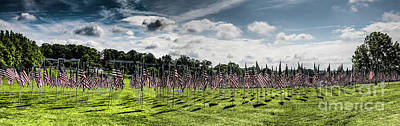 Photograph - Panorama Of American Flags Honoring Personal Heroes, Bohrer Park by Thomas Marchessault