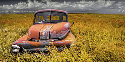 Food And Flowers Still Life Rights Managed Images - Panorama of an Old Dodge At Roads End Royalty-Free Image by Randall Nyhof