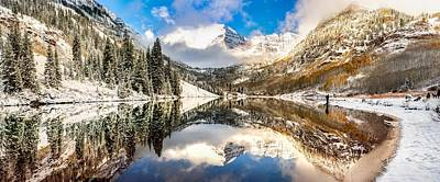 Perfect Christmas Card Photograph - Reflecting Upon The Maroon Bells - Aspen Colorado by Gregory Ballos