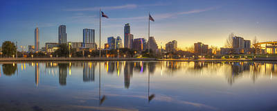 Panorama Of Austin Texas In February 1 Print by Rob Greebon