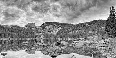Panorama Of Bear Lake And Halletts Peak In Monochrome - Rocky Mountain National Park Estes Park Colo Print by Silvio Ligutti
