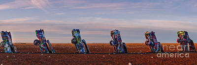 Installation Art Photograph - Panorama Of Cadillac Ranch In The Early Morning - Amarillo Texas Panhandle by Silvio Ligutti