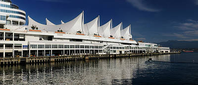 Vancouver Photograph - Panorama Of Canada Place Pier And Sails With North Vancouver Coa by Reimar Gaertner