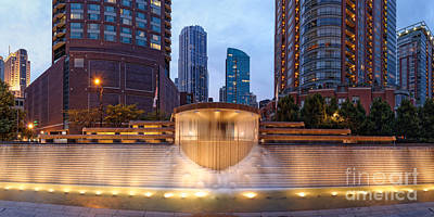 Photograph - Panorama Of Centennial Fountains At Twilight Chicago River - Near North Side Chicago Illinois by Silvio Ligutti