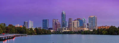 Panorama Of Downtown Austin Skyline From The Lady Bird Lake Boardwalk Trail - Texas Hill Country Art Print by Silvio Ligutti