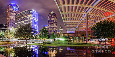 Panorama Of Downtown Dallas Skyline And Architecture Of Winspear Opera House - Dallas North Texas Art Print by Silvio Ligutti