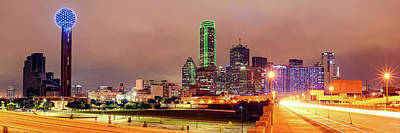 Panorama Of Downtown Dallas Skyline And Reunion Tower From South Houston Street Bridge - North Texas Art Print